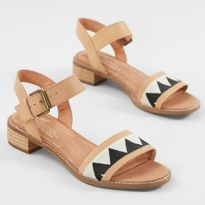 Toms Camilia Tan Embroidered Leather Sandal